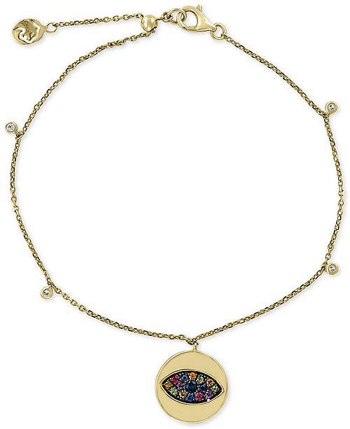 EFFY Collection Multi-Sapphire (1/4 ct. t.w.) & Diamond (1/20 ct. t.w.) Evil-Eye Charm Bracelet in 14k Gold