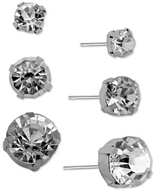 Silver-Tone 3-Pc. Set Crystal Stud Earrings