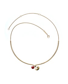 Bubbly Stainless Steel and PVD Champagne Gold Red Coral Stone Choker Necklace