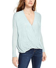 Juniors' Surplice-Neck Top