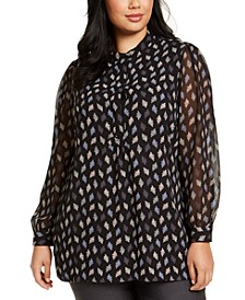 Plus Size Printed Sheer-Sleeve Top