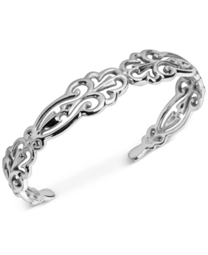 Carolyn Pollock Filigree Swirl Cuff Bracelet in Sterling Silver