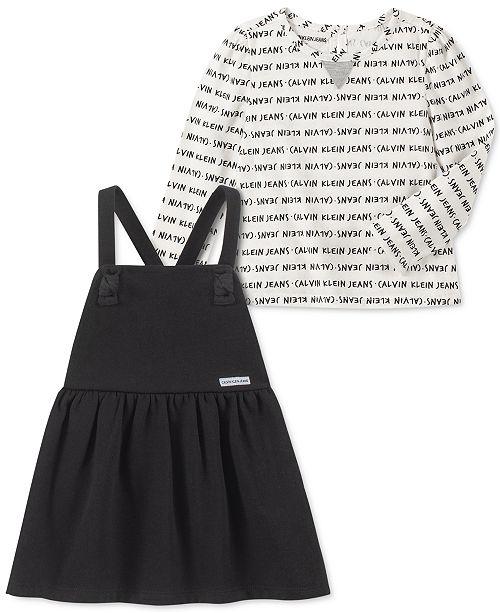 Calvin Klein Baby Girls 2-Pc. Logo-Print Top & Fleece Jumper Set