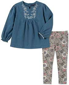 Baby Girls 2-Pc. Denim Tunic & Floral-Print Leggings Set