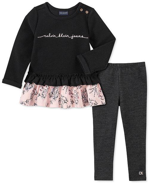 Calvin Klein Baby Girls 2-Pc. Layered-Look Tunic & Denim Leggings Set