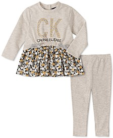 Baby Girls 2-Pc. Heart-Print Peplum Tunic & Leggings Set