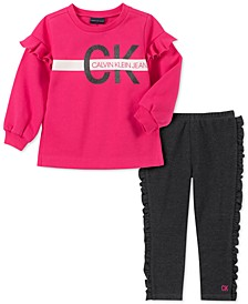 Baby Girls 2-Pc. Fleece Logo Top & Ruffled Leggings Set