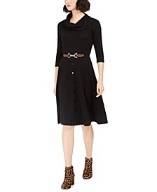 Petite Belted Cowlneck Sweater Dress