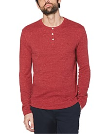 Men's Waffle Henley Long Sleeve T-Shirt