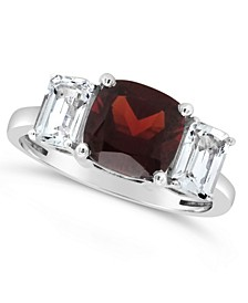Garnet (2-3/4 ct. t.w.) and White Topaz (1-3/8 ct. t.w) Ring in Sterling Silver