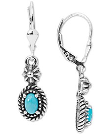 Turquoise (4 x 6mm) Drop Earrings in Sterling Silver