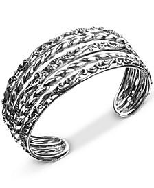 Multi-Row Openwork Swirl Cuff Bracelet in Sterling Silver
