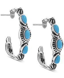 Turquoise (3 x 5mm) Hoop Earrings in Sterling Silver