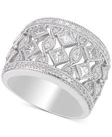Diamond Openwork Milgrain Wide Statement Ring (1-1/4 ct. t.w.) in Sterling Silver