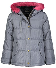 Big Girls Hooded Faux-Fur-Trim Coat