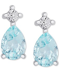 Blue Topaz Miracle Plate Stud Earrings (1 ct. t.w.) in Sterling Silver