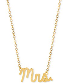 "Mrs. 16""-18"" Pendant Necklace in 14k Gold Over Sterling Silver"