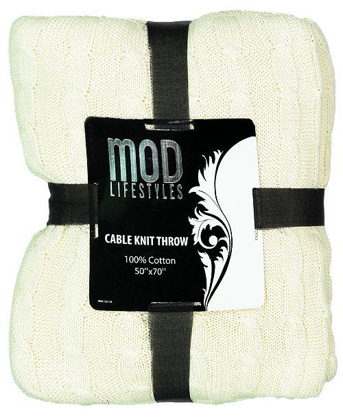 "Mod Lifestyles Classic Throw Collection Cotton Rib Knit, 50"" X 70"""