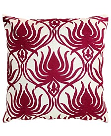 """Spice Collection Flame Crewel Embroidery Pillow, 20"""" X 20"""""""