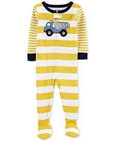 Baby Boys 1-Pc. Cotton Striped Dump Truck Footie Pajama
