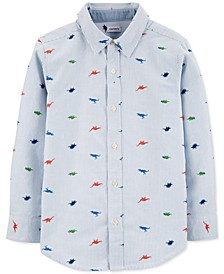 Little & Big Boys Striped Dinosaur-Print Oxford Button-Front Cotton Shirt