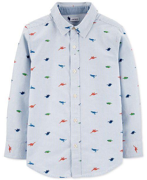 Carter's Little & Big Boys Striped Dinosaur-Print Oxford Button-Front Cotton Shirt