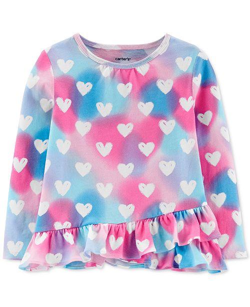 Carter's Toddler Girls Heart-Print Ruffle-Hem Cotton T-Shirt