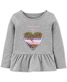 Toddler Girls Cotton Heart of Gold Peplum Top
