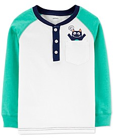Toddler Boys Monster-Print Henley T-Shirt