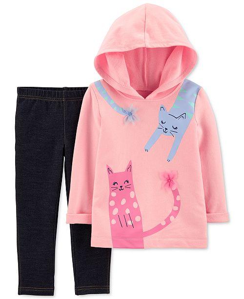 Carter's Toddler Girls 2-Pc. Cats Hoodie & Knit Denim Pants Set