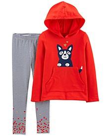 Little & Big Girls 2-Pc. Dog Hoodie & Striped Leggings Set