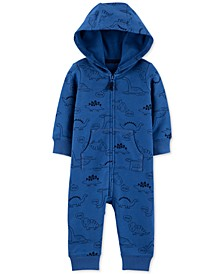 Baby Boys Cotton Dinosaur-Print Hooded Coverall