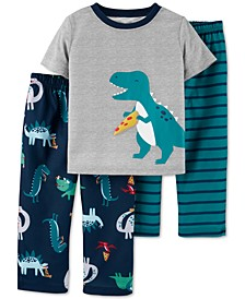 Toddler Boys 3-Pc. T-Rex Pajamas Set