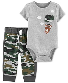 Baby Boys 2-Pc. Cotton Koala Camo-Print Bodysuit & Jogger Pants Set