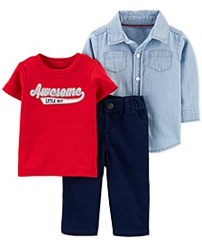 Baby Boys 3-Pc. Cotton Shirt, Awesome Little Guy T-Shirt & Pants Set