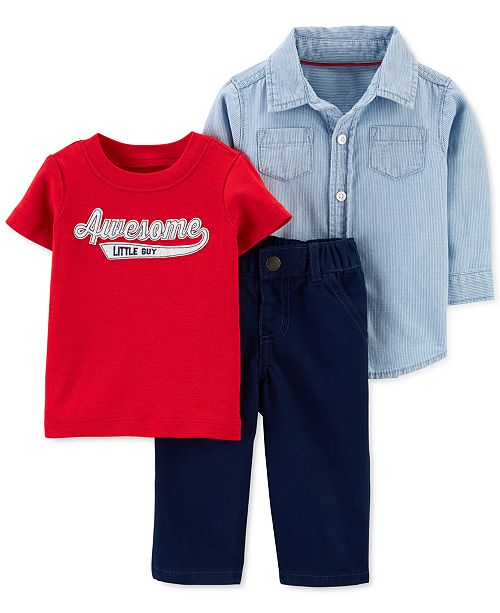 Carter's Baby Boys 3-Pc. Cotton Shirt, Awesome Little Guy T-Shirt & Pants Set