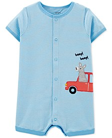 Baby Boys Cotton Striped Llama Romper