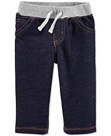 Baby Boys Cotton French Terry Denim-Look Pants