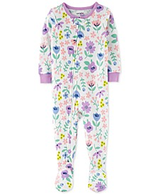 Toddler Girls Cotton 1-Pc. Floral-Print Footie Pajama