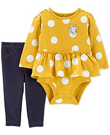 Baby Girls 2-Pc. Dot-Print Peplum Bodysuit & Denim Pants Set