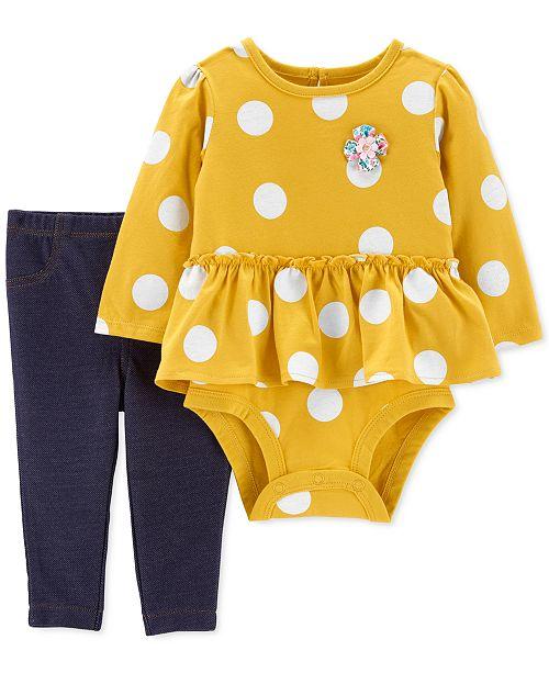 Carter's Baby Girls 2-Pc. Dot-Print Peplum Bodysuit & Denim Pants Set
