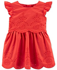 Baby Girls Flutter-Sleeve Eyelet Dress