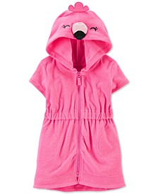 Baby Girls Hooded Flamingo Cover Up