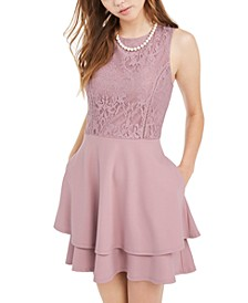 Juniors' Lace-Top Dress