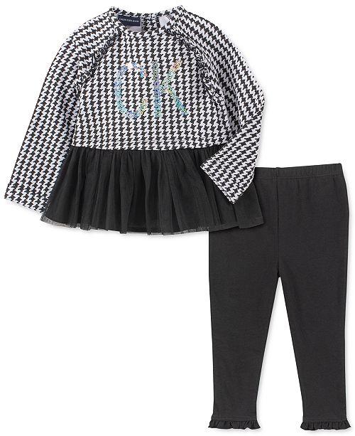 Calvin Klein Little Girls 2-Pc. Houndstooth Peplum Tunic & Leggings Set