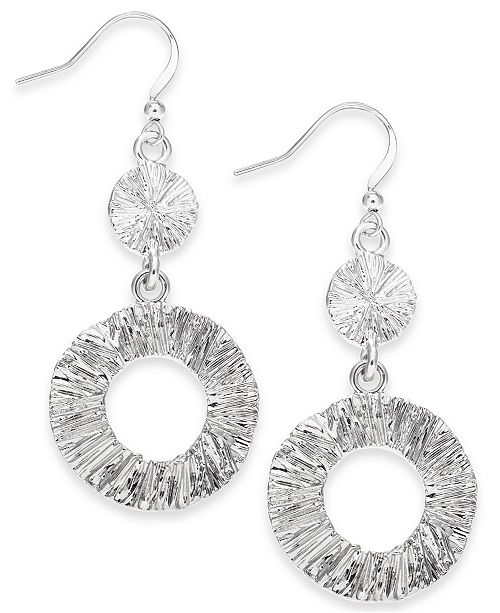 Charter Club Silver-Tone Open Circle Drop Earrings, Created for Macy's