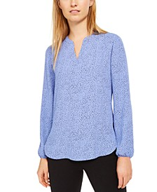Dotted Split-Neck Top