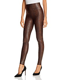 Snake Faux-Leather Leggings