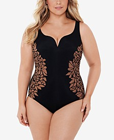 Plus Size Gilted as Charged Printed Temptress Tummy Control One-Piece Swimsuit