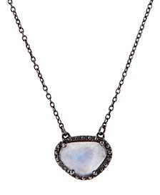 Organic Cut Moonstone and Diamond Necklace